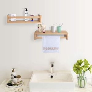 Set of 2 Natural Wood Floating Shelves